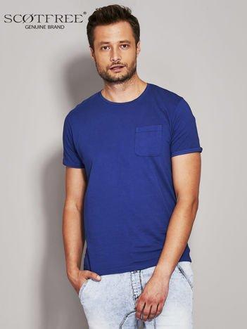 SCOTFREE Niebieski t-shirt męski z kieszonką