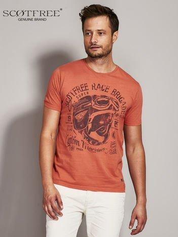 SCOTFREE Pomarańczowy t-shirt męski z nadrukiem vintage