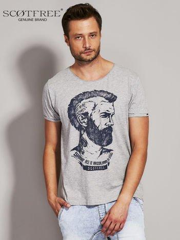 SCOTFREE Szary t-shirt męski z nadrukiem