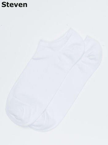 STEVEN Białe gładkie stopki męskie
