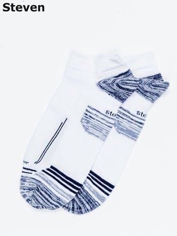 STEVEN Białe krótkie skarpety męskie z motywem graficznym