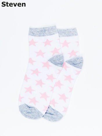 STEVEN Biało-różowe skarpety dziecięce w gwiazdy