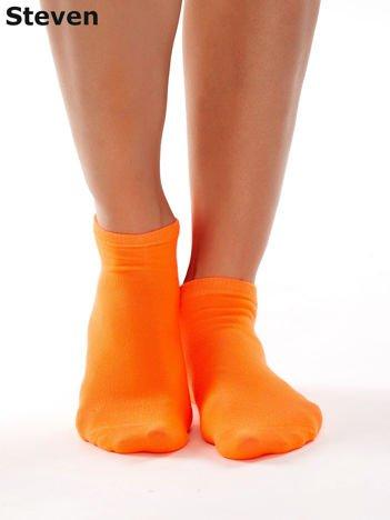 STEVEN Fluo pomarańczowe gładkie stopki damskie