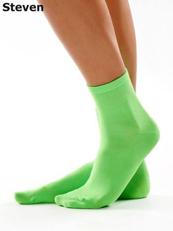 STEVEN Gładkie bezuciskowe skarpety damskie zielone