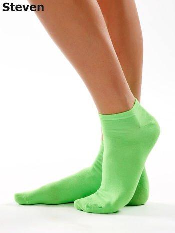 STEVEN Gładkie krótkie zielone skarpety stopki