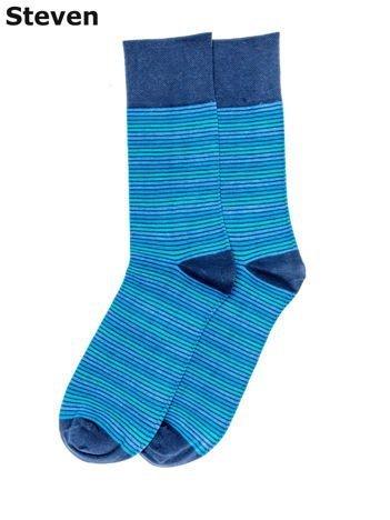 STEVEN Niebieskie skarpety bawełniane męskie w paski