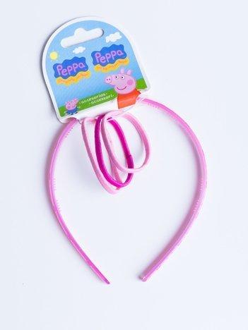 ŚWINKA PEPPA Opaska do włosów w komplecie z gumkami dla dziewczynki jasnoróżowa