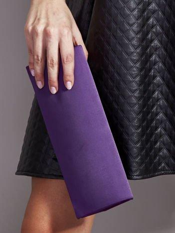 Satynowa gładka kopertówka z lusterkiem ciemnofioletowa