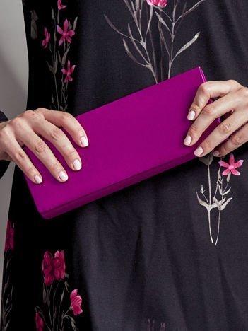 Satynowa gładka kopertówka z lusterkiem różowofioletowa
