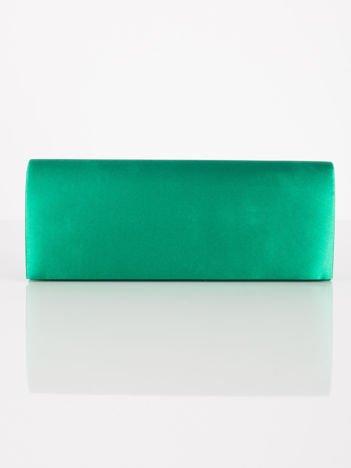 Satynowa gładka kopertówka z lusterkiem zielona