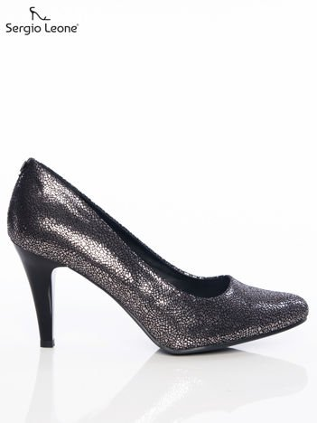 Sergio Leone ciemnozłote marmurkowe mieniące się szpilki z efektem glitter na niskim słupku