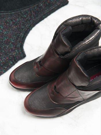 Sergio Leone czarno-czerwone przecierane, metaliczne sneakersy z wysoką pikowaną cholewką