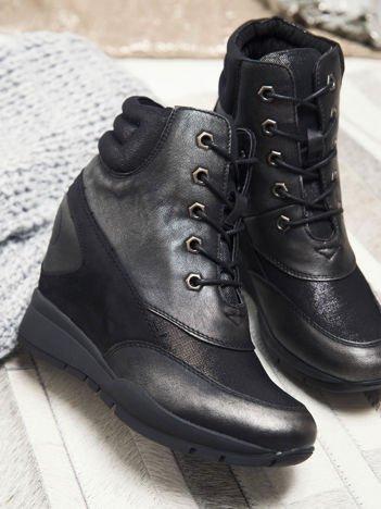 Sergio Leone czarno-srebrne sznurowane, przecierane, metaliczne sneakersy z wysoką pikowaną cholewką