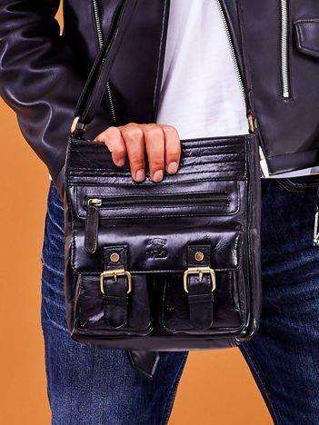 Skórzana torba męska czarna z kieszeniami