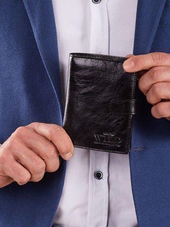 Skórzany czarny męski portfel z zapięciem