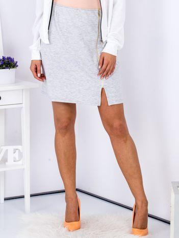 Spódnica dresowa jasnoszara z suwakiem