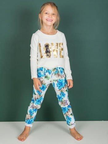 Spodnie dla dziewczynki z egzotycznym nadrukiem niebieskie