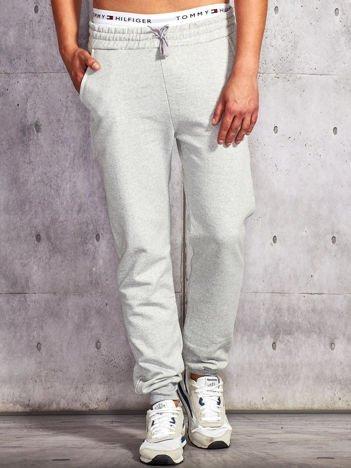 Spodnie dresowe męskie jasnoszare ze ściągaczem