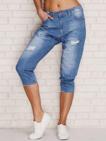 Spodnie jeansowe capri z przetarciami niebieskie