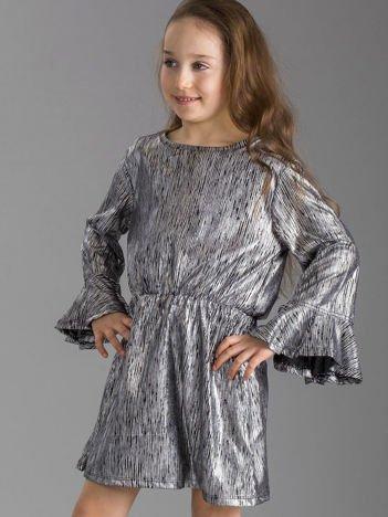 Srebrna sukienka dziewczęca w paski