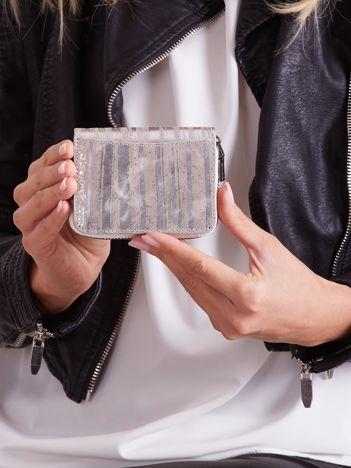 Srebrny skórzany damski portfel