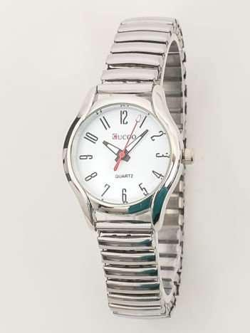 Srebrny zegarek damski na bransolecie z białą tarczą