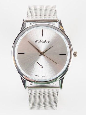 Srebrny zegarek damski  z bransoletą typu MESH
