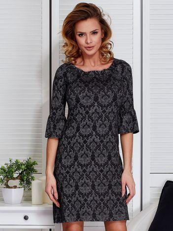 Sukienka ciemnoszara w ornamentowe wzory