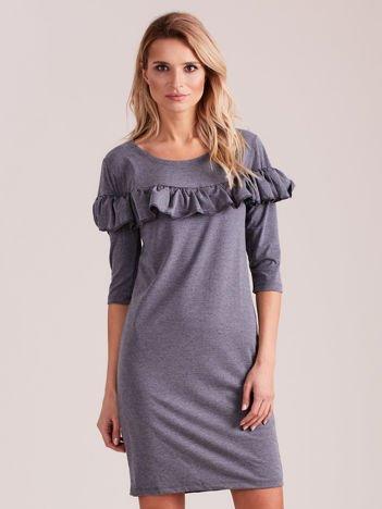 Sukienka ciemnoszara z szeroką falbaną