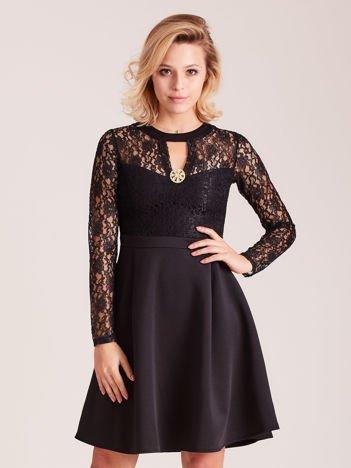 Sukienka czarna z koronkową górą