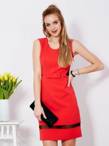 Sukienka czerwona z transparentnymi wstawkami