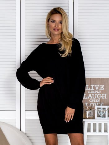 Sukienka damska bombka z kieszeniami czarna