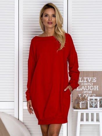 Sukienka damska bombka z kieszeniami czerwona