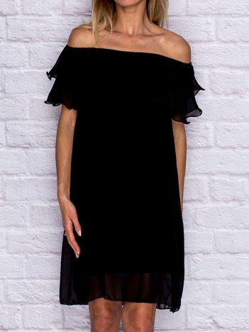 Sukienka damska koktajlowa z hiszpańskim dekoltem czarna