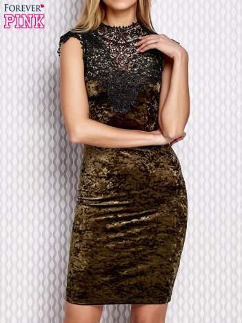 Sukienka damska welurowa z koronką zielona