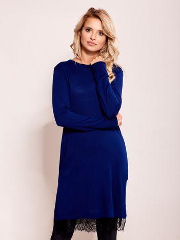 Sukienka damska z koronką ciemnoniebieska