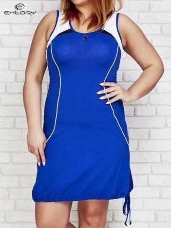 Sukienka damska z łezką przy dekolcie ciemnoniebieska