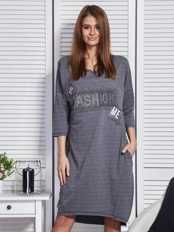 Sukienka damska z napisem z dżetów ciemnoszara