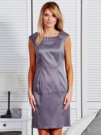 Sukienka damska z zakładkami przy dekolcie ciemnoszara