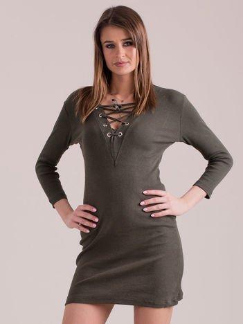 Sukienka dopasowana lace up khaki