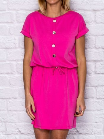 Sukienka dresowa z błyszczącymi guzikami różowa