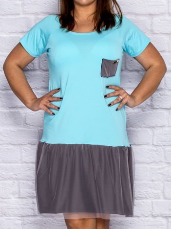 Sukienka dresowa z tiulową spódnicą turkusowa PLUS SIZE