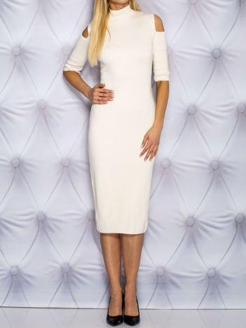 Sukienka dzienna cut out z półgolfem ecru
