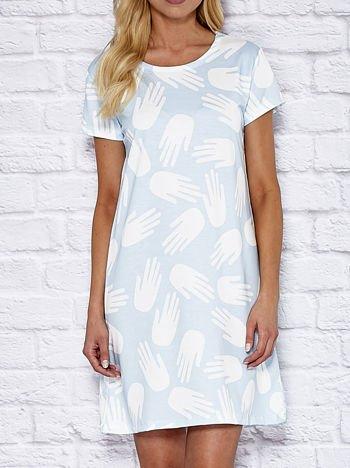 Sukienka dzienna z nadrukiem dłoni jasnoniebieska