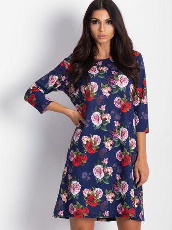 Sukienka granatowa w kolorowe róże