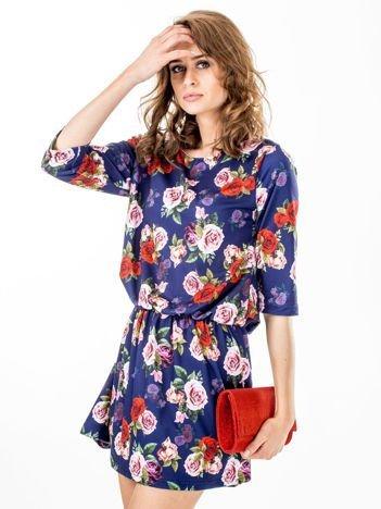 Sukienka granatowa w róże