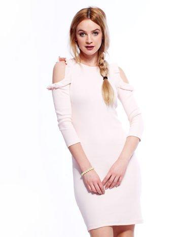 Sukienka jasnoróżowa prążkowana cold arms
