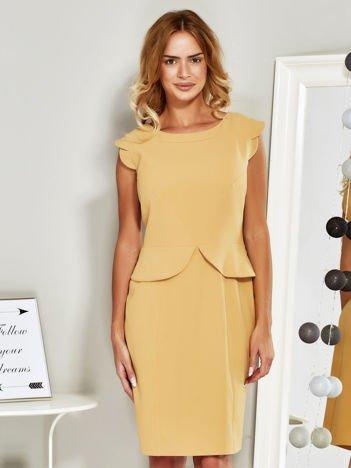 Sukienka koktajlowa z baskinką żółta