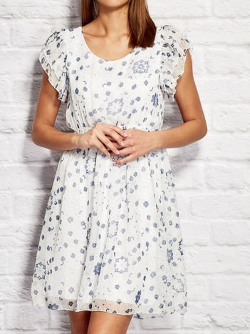 Sukienka koktajlowa z motywem floral print biała