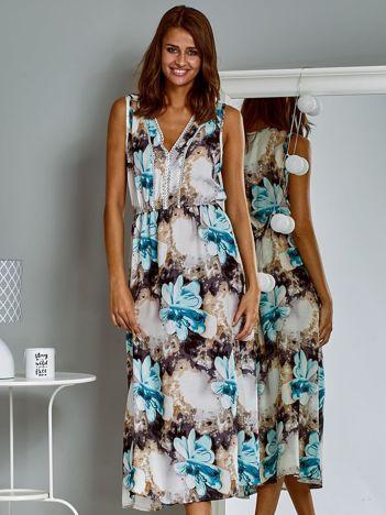 Sukienka letnia maxi z kwiatowym wzorem niebieska